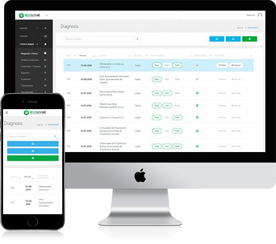 iMac y móvil diagnosis de situación - Software para empresas de control de plagas y sanidad ambiental en la nube