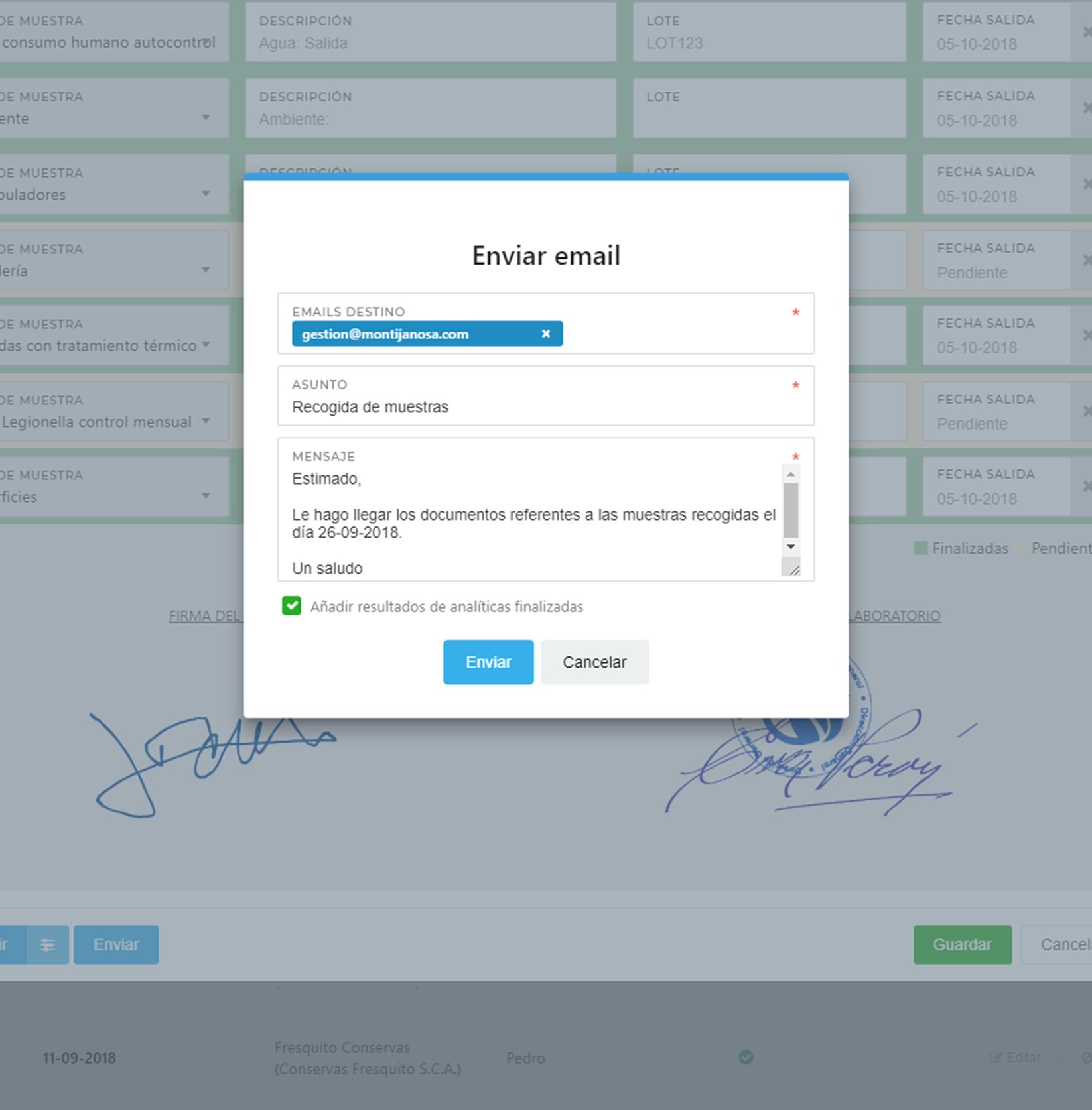 Software laboratorio de muestras en EviSane - Envío de email